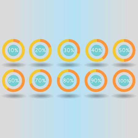 icons pie graph circle percentage pink chart 10 20 30 40 50 60 70 80 90 100 % set illustration round raster