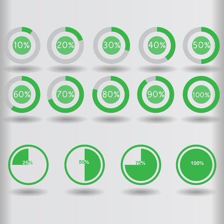 70 75: icons pie graph circle percentage green chart 10 20 25 30 40 50 60 70 75 80 90 100 % set illustration round raster