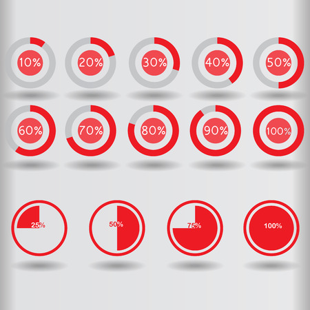 icons pie graph circle percentage red chart 10 20 25 30 40 50 60 70 75 80 90 100 % set illustration round raster