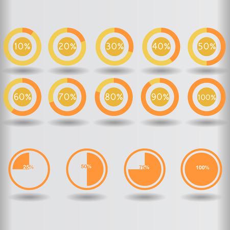 75 80: icons pie graph circle percentage orange chart 10 20 25 30 40 50 60 70 75 80 90 100 % set illustration round raster