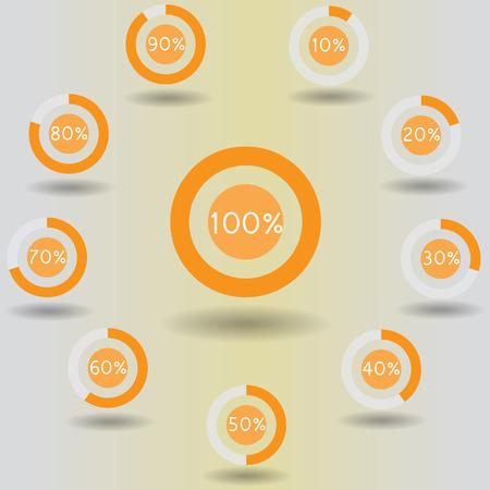 icons pie graph circle percentage orange chart 10 20 30 40 50 60 70 80 90 100 % set illustration round raster