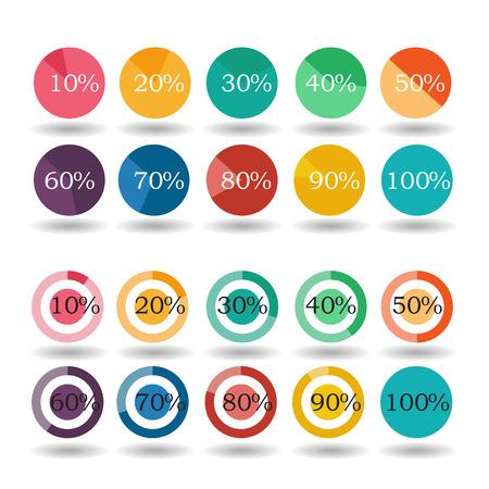 pie graph circle percentage chart 10 20 30 40 50 60 70 80 90 100 % set illustration round raster