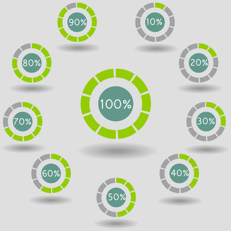 icons pie graph circle percentage green chart 10 20 30 40 50 60 70 80 90 100 % set illustration round raster Banco de Imagens