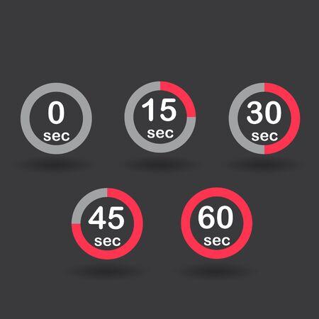 sec: Time, clock, stopwatch, timer progress circles set 0 15 30 45 60 sec red sport rings Raster illustration
