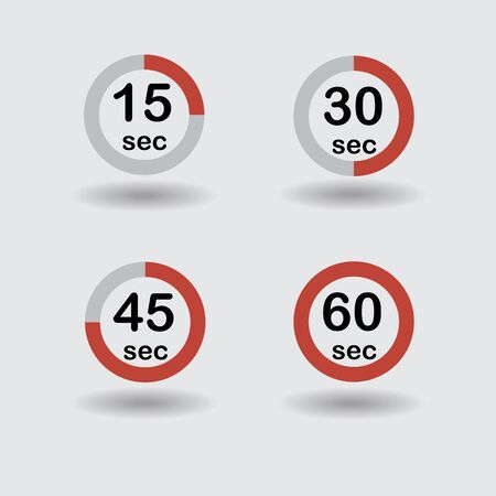 sec: Time, clock, stopwatch, timer progress circles set 15 30 45 60 sec red raster illustration