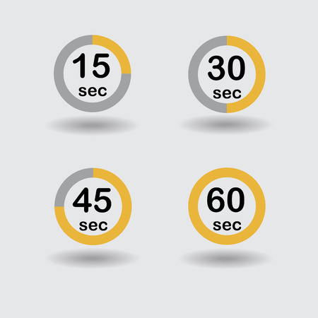 sec: Time, clock, stopwatch, timer progress circles set 15 30 45 60 sec orange raster illustration Stock Photo