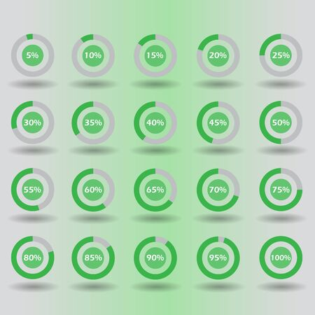 60 65: icons template pie graph circle percentage green chart 5 10 15 20 25 30 35 40 45 50 55 60 65 70 75 80 85 90 95 100 % set illustration round raster Stock Photo