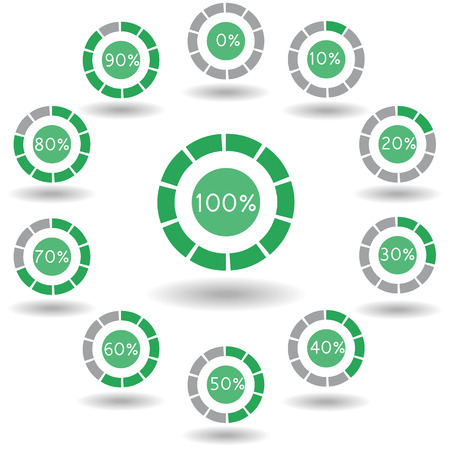 icons pie graph circle percentage green chart 0 10 20 30 40 50 60 70 80 90 100 % set illustration round Raster
