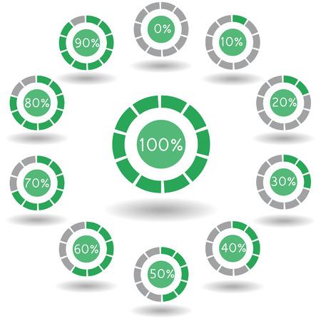 icons pie graph circle percentage green chart 0 10 20 30 40 50 60 70 80 90 100 % set illustration round Raster