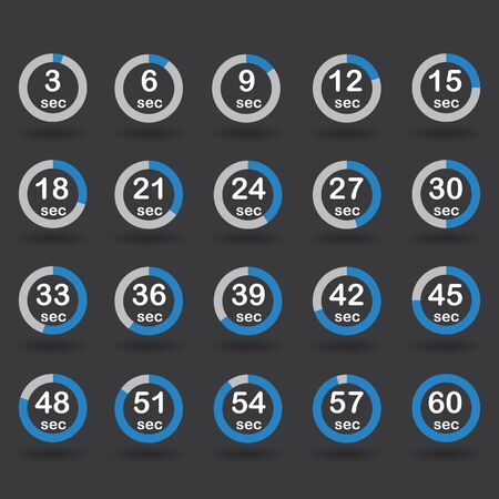 increments: Time, clock, stopwatch, timer progress circles set 5-60 sec with increments of 5 sec blue raster illustration