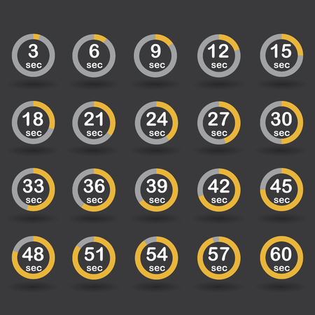 increments: Time, clock, stopwatch, timer progress circles set 5-60 sec with increments of 5 sec orange raster illustration