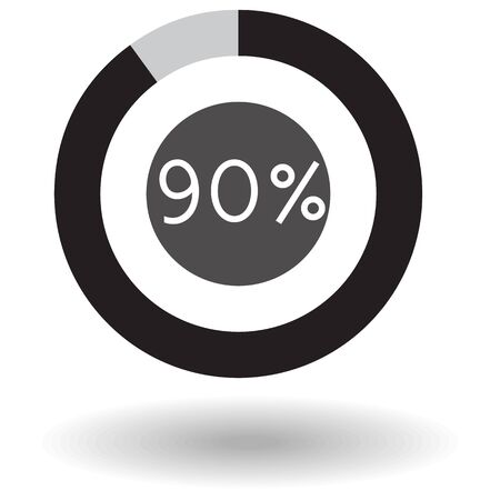 Icon Business Colorful Pie Chart Circle Graph 90 Black Raster