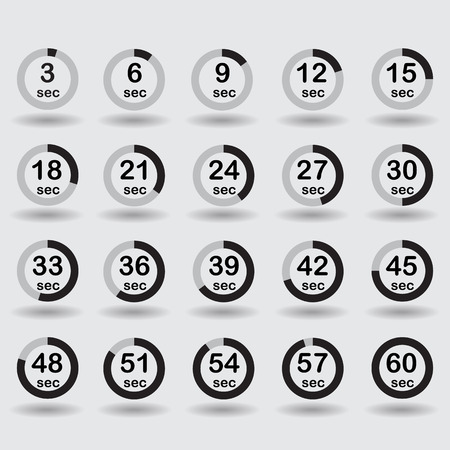 increments: Time, clock, stopwatch, timer progress circles set 5-60 sec with increments of 5 sec black raster illustration