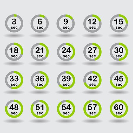 increments: Time, clock, stopwatch, timer progress circles set 5-60 sec with increments of 5 sec green raster illustration Stock Photo