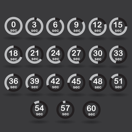 sec: Time, clock, stopwatch, timer progress circles set 0-60 sec with increments of 5 sec black raster illustration