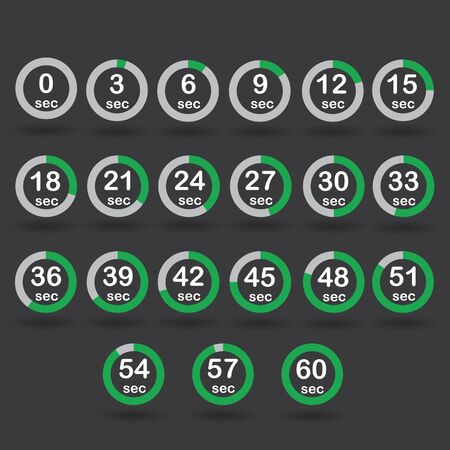 increments: Time, clock, stopwatch, timer progress circles set 0-60 sec with increments of 5 sec green raster illustration Stock Photo