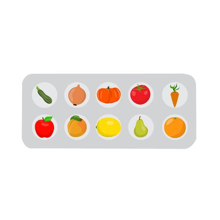 Pills that look like fruits and vegetables in a blister pack. Pills set. raster illustration