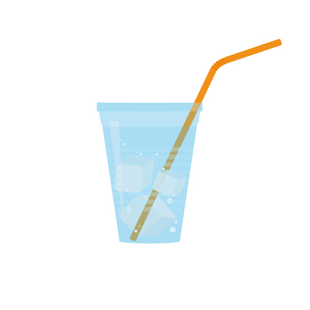 plastic straw: Plastic cup of water with bubbles, ice cubes and orange straw. Flat design. Raster illustration Stock Photo