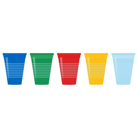 Set of plastic cups. Blue, green, yellow, red, blue cups. Flat design. Raster illustration