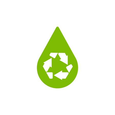 abstract recycle arrows: Water drop with recycle symbol or sign of conservation green icon isolated on white background. Raster illustration