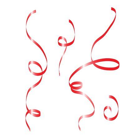 Raster illustration red ribbon for Christmas set Stock Photo