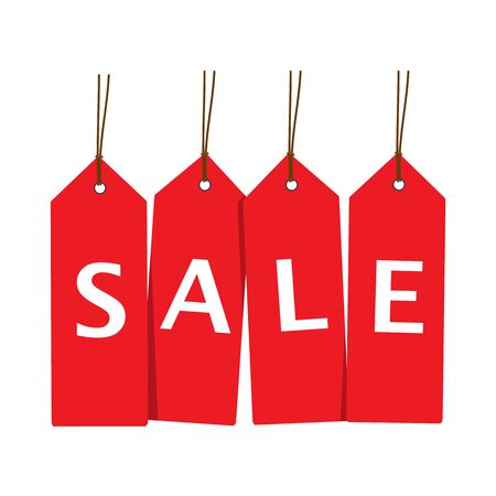 Red sale tags vertical alignment. Concept of discount shopping. Raster illustration Stock Photo
