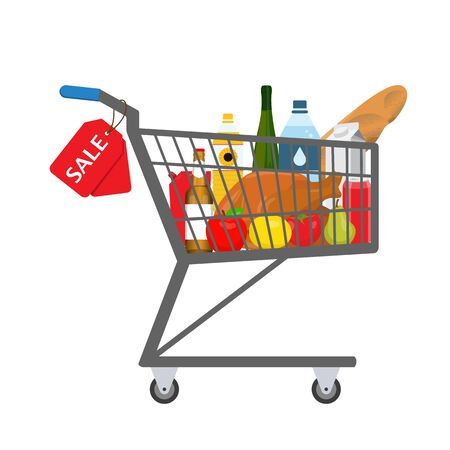 pushcart: Shopping trolley full of food, products and goods with sale tag. Raster illustration