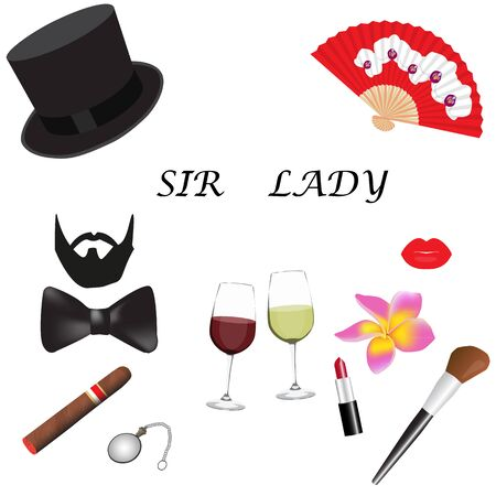 sir: Sir and Lady accessories set. Concept of personal accessories. Raster illustration.