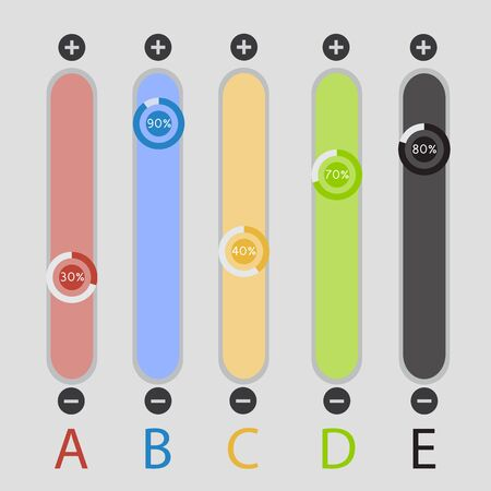volume knob: Colorful slide switches web design elements. Mixer sliders. Template for app and website. raster illustration