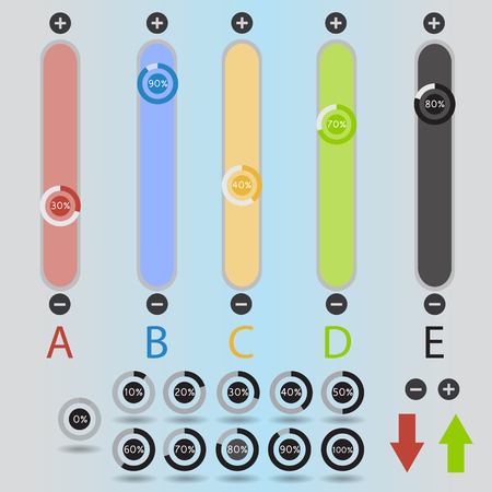 Colorful slide switches web design elements set. Mixer sliders. Buttons. Template for app and website. raster illustration