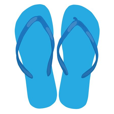beach slippers: blue beach slippers pair colorful isolated raster illustration