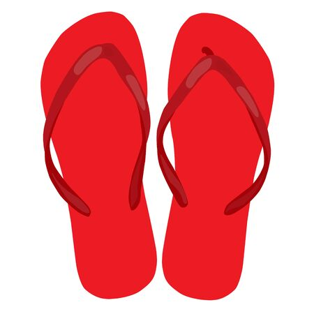 beach slippers: red beach slippers pair colorful isolated raster illustration Stock Photo