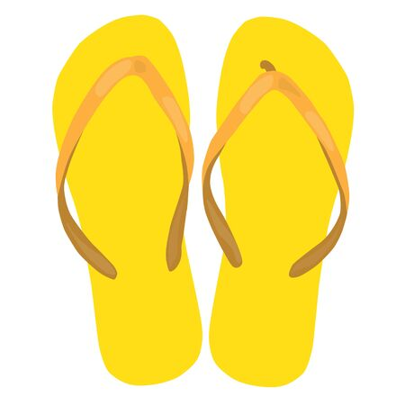 beach slippers: yellow beach slippers pair colorful isolated raster illustration