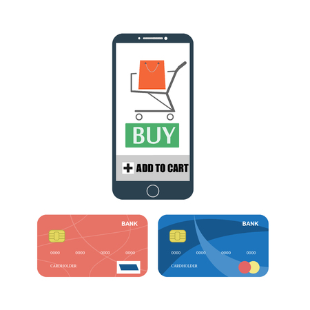 buy button: Smartphone with buy button and shopping trolley and credit cards set. Raster illustration