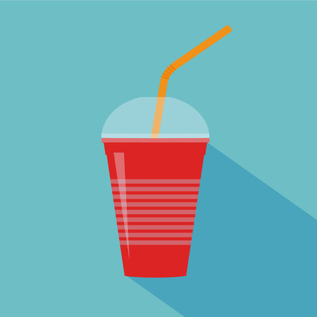 red cup: Berries smoothie in red cup with straw. Smoothie to go. Raster illustration