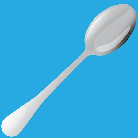 metal tablespoon on blue background raster illustration