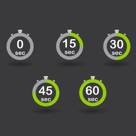 sec: Time, clock, stopwatch, timer progress circles set 0 15 30 45 60 sec green sport rings raster illustration