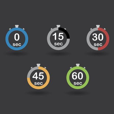 sec: Time, clock, stopwatch, timer progress circles set 0 15 30 45 60 sec rainbow sport rings raster illustration