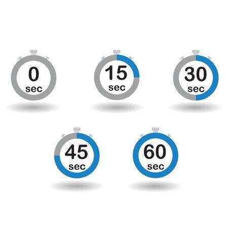 sec: Time, clock, stopwatch, timer progress circles set 0 15 30 45 60 sec blue sport rings Raster illustration