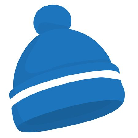 Blue woolen knitted hat isolated raster illustration Stock Photo