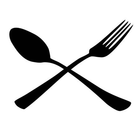 tablespoon fork black icon raster illustration Stock Photo