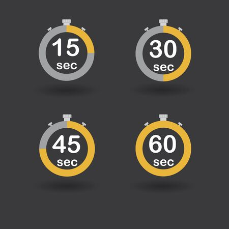 Time, clock, stopwatch, timer progress circles set 15 30 45 60 sec orange raster illustration Stock Photo
