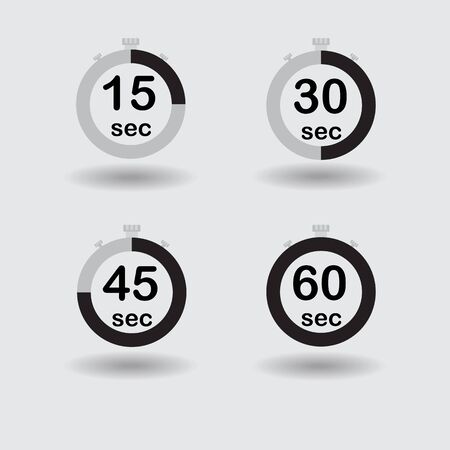 sec: Time, clock, stopwatch, timer progress circles set 15 30 45 60 sec black raster illustration