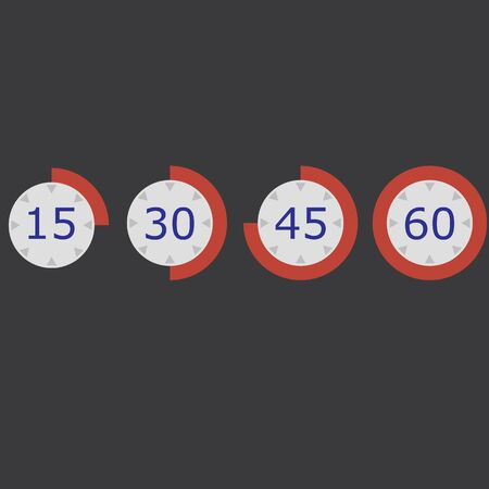 red stopwatch Flat icon set 15 30 45 60 raster illustration