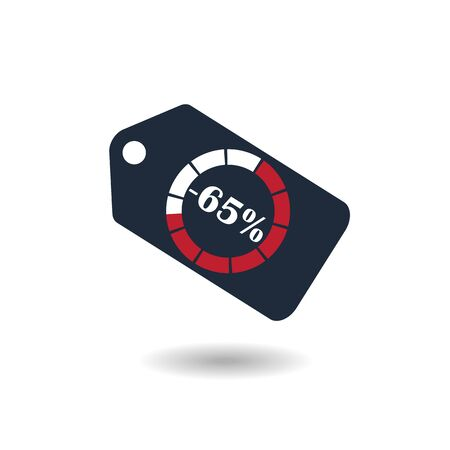 65: Sale Tag with pie chart diagram icon. 65% sale black isolated with shadow. Flat design style. raster illustration