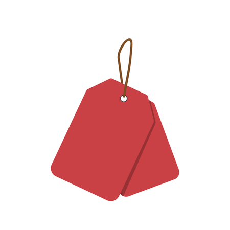pricing: Empty red sale price tags set. Sale tag. Raster illustration. Stock Photo