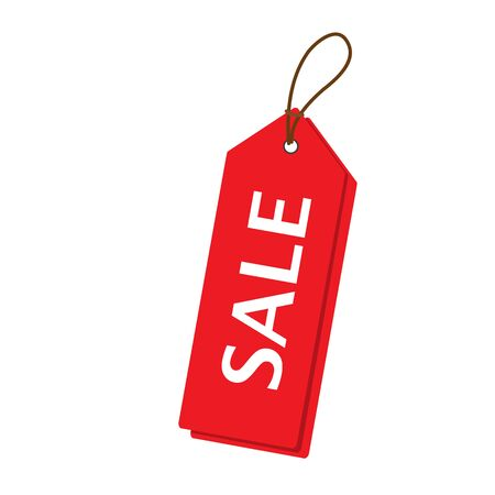 Red sale price tags set. Vertical alignment Sale tag. Raster illustration. Stock Photo