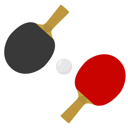 Table tennis paddles or rackets and ball. Raster illustration Stock Photo