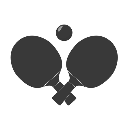 cross match: Crossed table tennis paddles or rackets and ball. Black silhouette. Raster illustration