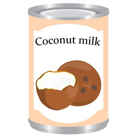 Canned coconut milk isolated raster illustration
